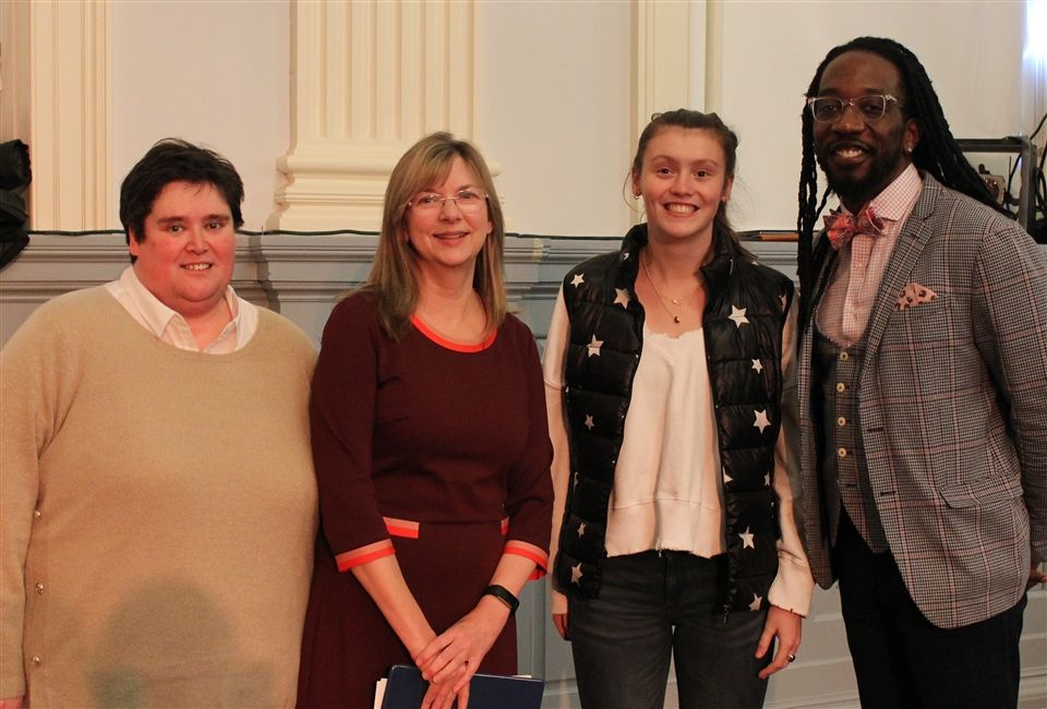 Director of Community Service Programs Angela Macedo, Head of School Katherine Bradley, A. Sibold '20 and Rev. Dr. Jay Williams of Boston's Union United Methodist Church