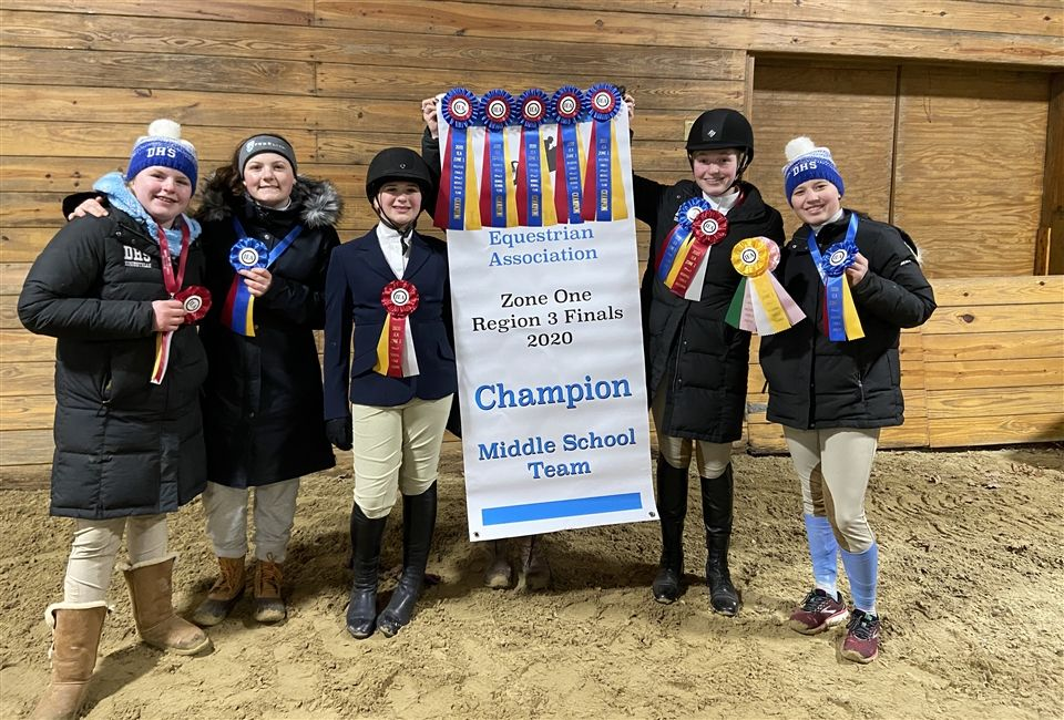 Some of the riders with their ribbons