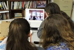Dana Hall students held Skype sessions over lunch so they could talk in person with their SISTERS partners.