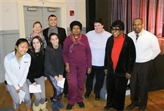 Members of Union United Methodist Church with CSAB tri-heads, Head of School Katherine L. Bradley and Director of Community Service Programs Angela Macedo