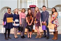 A. Chikunya '19 (far left) and fellow top seven finalists in the 2018 Massachusetts Poetry Out Loud competition. Photo courtesy of the Huntington Theatre Company.