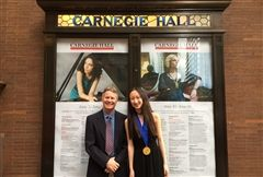Michael Frassinelli and D. Lu '24 at Carnegie Hall in New York City