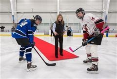 Head of School Katherine Bradley dropped a ceremonial puck before the first home game