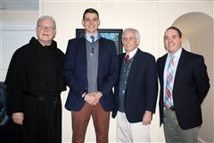 Senior Brennan Robinson has been honored with the Augustinian Scholarship to Villanova University. Pictured: Rev. Donald F. Reilly, O.S.A., D. Min., Head of School, Brennan Robinson '19, Mr. Ian Harkness, Director of College Counseling, and Mr. Richard Roper, College Counselor.