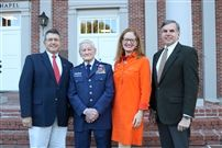 From left, Stephen Galloway, Col. Elmer Follis, Elizabeth Dickinson, and Headmaster Pete Sanders