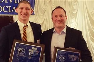 Swimmer of the Year Luke Maurer '20 (left) with Coach of the Year Mike Hengelmann '00
