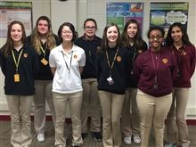 Members of Loyola's new Women in STEM Club. Front row L to R: Allison White '19, Grace Couture '20, Amelia Dorgan '22, Hermella Tewondros '22. Back row L to R:  Victoria