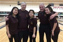 Left to right: Samantha Olanda '20, Coach Tres, Phoebe Rosa '21, Coach Fink, Lexi Vasilopoulos '23