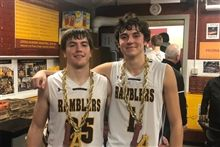 Matt Enghauser '20 and Billy Palmer '20 each took a charge against DePaul Prep in the CCL Championship
