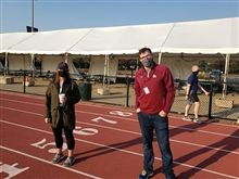 Faculty and staff prepare to kickoff the ZoomZaga at Loyola's Sachs Stadium 5K on October 9.