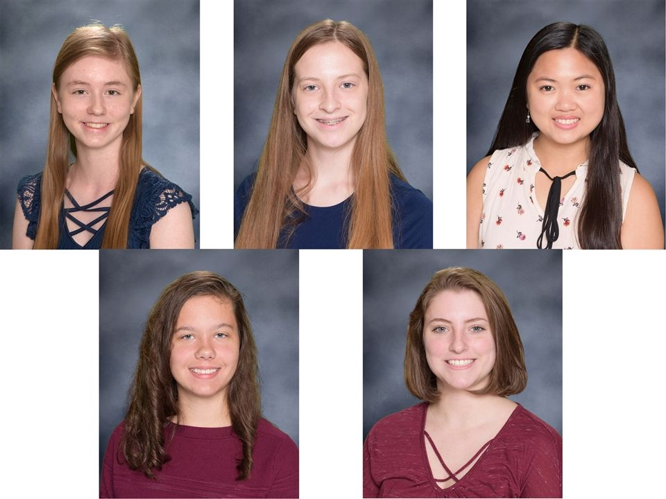 Top Row L-R - Piper Ancell, Emily Gurley, Isabel Lee; Bottom Row L-R - Bridget Noonan and Kathryn Theissen