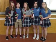 L-R, Claire Koster, Kayla Tiemann, Madeleine Pasque, Payton Lowrey, and Victoria Anderson
