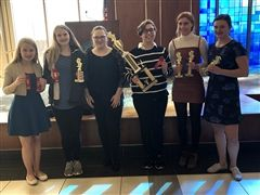 Finalists and first place winners (left to right): Alyssa Schaeffer, Olivia Evers, Sarah Gunter, Hailee Settlemoir, Nora Stark and Faith Schmidt.
