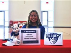 Marissa Lesko '19 signs her letter of intent to play soccer at SLU