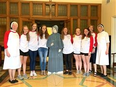 Sr. Barbara, Sr. Veronica and Mrs. Linda Martin with six Cor Jesu students at the ASCJ Motherhouse in Hamden, CT