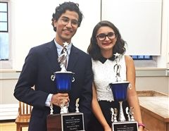 Bilal and Chloe with 1st place trophies.