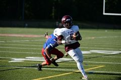 Shaka Moales '18 during Football's 35-14 win over Wilbraham and Monson - Photo provided by Joyce Andersen