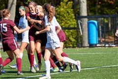 Elizabeth Laub '18 celebrating her her first of two goals during Girls Varsity Soccer's 4-0 win over Holy Child