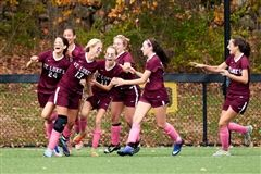 Elizabeth Laub '18 celebrates the winning gaol against Greenwich Academy