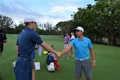Jack Maguire '19 meeting Rickie Fowler after his fundraising efforts.