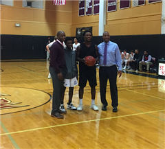 Jonas Harper '18 scored his 1000th career point for St. Luke's in a 71-61 win over Greens Farms Academy.