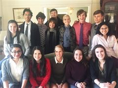 Senior Shakespeare Seminar students at Susan Doran's home for Sonnets and Sweets