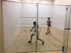 Senior captain Caroline Nevin played in the #1 slot in the Girls Varsity Squash win over The Masters School (NY)