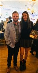 Lea Panagiotidis '20 with St. Luke's Girls Soccer coach Dan Clarke at the All-State banquet.