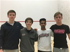 Boys Varsity Squash celebrated seniors Dennis Polyakov, Logan Diliberto, Ajit Akole and Ian Thomas