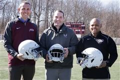 Athletic Director Mike West, VICIS Representative Andy Grant, Storm Football Coach Noel Thomas