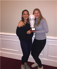 St. Luke's Girls Varsity Basketball captains Maya Klein '18 and Bridget Dalton '18 received the Harold Swaffield Sportsmanship award on the team's behalf.