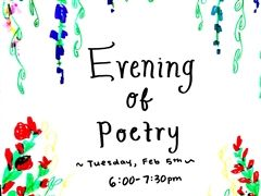 St. Luke's Evening of Poetry poster by Clara Pakman '19