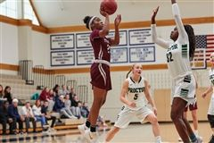 Janelle Johnson '20 scored 17 points for St. Luke's Girls Varsity Basketball against both Masters and Sacred Heart