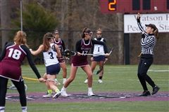 Olivia Schwartz '19 is a captain of St. Luke's Girls Varsity Lacrosse with Katie Libman '19 and Kirsten Pastore '19