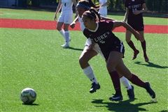 Girls Varsity Soccer captain Julia Lombardo '21 scored the winning goal for St. Luke's against Rye Country Day School
