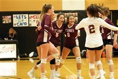 The St. Luke's Varsity Volleyball qualified for the FAA tournament after beating Sacred Heart 3-1