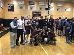 St. Luke's Boys Varsity Basketball beat Greens Farms Academy 56-52 to clinch the FAA Tournament Championship