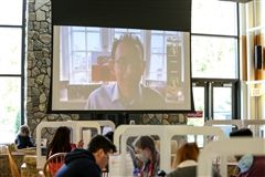 Michael Gordon speaks to St. Luke's students via Zoom for Lunch & Lead.