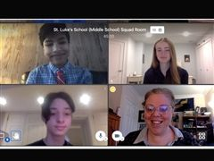 St. Luke's students in their virtual squad room during the Connecticut Middle School Debate Tournament