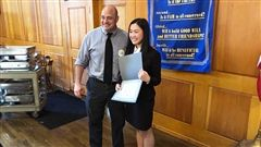 Victoria Luo with Speech and Debate Coach Pat Mesisca '92