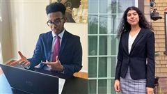 Senior Euel Kebebew debating an opponent online; and Sophomore Isabella Madrid preparing for a weekend of intense online Speech and Debate competition