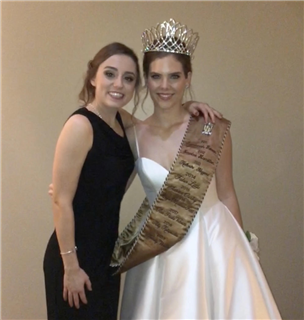 Ally Kotopoulos, TMI Military Ball Queen 2018, congratulates Trinity Walker,  who was crowned queen of this year's ball, held Feb. 2  in the Hyatt Regency Hill Country Resort.