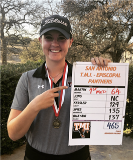 TMI junior Delaney Martin shows off her score at the Feb. 25 Taft Classic Golf Tournament at  Fair Oaks Ranch Country Club.