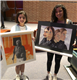 TMI students Sara Homma, left, and Kristina Samuel display their artwork at the Feb. 23 regional Visual Arts Scholastic Event at John Paul Stevens High  School.