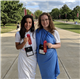 TMI Episcopal seniors Karina Samuel, left, and Bridget Lynch display the ribbons they won in academic contests at the National Junior Classical League Convention.