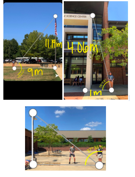 Youth enrolled in Dr. Bramlett's Precalculus course work together to capture and label angles around campus with the help of the Angle 360 app.