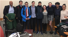 Dalton Parli Team at Columbia: (left to right) Mr. Forbes, Hart Rapaport ('18), Davey Morse ('18), Grant Gordon ('18), Avi Mehta ('21), Alex Lehman ('19), Claire Marchand ('20), Eeshan Tripathi ('19), Ms. Norris; not pictured: Tyler Azzam ('18), Daniel Marsala ('18)