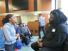 Author Jason Reynolds speaks with Dalton Grade 8 student