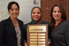 Noor Bowman '20 poses with Dr. Julie Wollman '77, Widener University President, and Head of School Dr. Marisa Porges '96