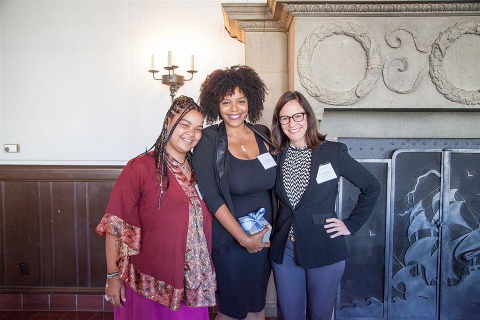 Alumnae Association Board member Quinci Land '05, Jasmine Shackelford '06, and Elizabeth English